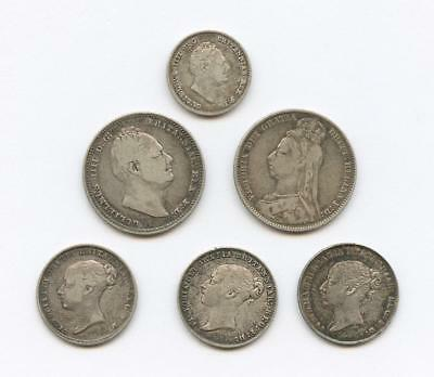 1834-1890 Six British Silver Coins - Shillings, Six Pence, Four Pence - Ef/au