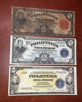 SET OF 3 PHILIPPINE 2, 5,  PESO VICTORY NOTES AND A 2 PESO free shipping  m