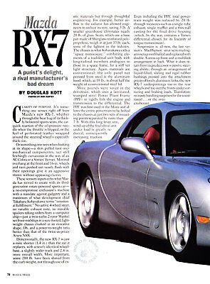 1992 Mazda RX-7 Coupe Road Test Review & Technical Data Article