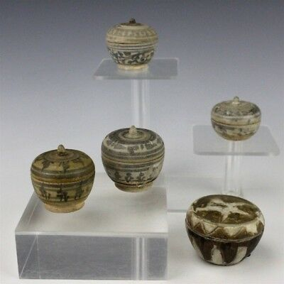 Collection of 5 Antique Southeast Asian Chinese Porcelain Lidded Boxes NR SMS