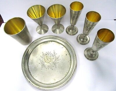 Vintage Silver Lot - Tray, Shot Glass, Cordials - Mixed Hallmarks, Some Russian