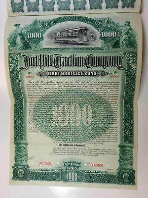 PA. Fort Pitt Traction Co., 1895 $1,000 Specimen 5% 1st Mortgage Coupon Bond, XF