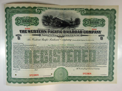 Western Pacific Railroad Co., 1916 $1,000 Registered 6% Specimen Gold Bond, XF