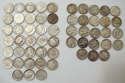 56 Silver Dimes Roosevelt Mercury Lot 4.89 Oz Ounce Dime Roll Coins Scrap Junk