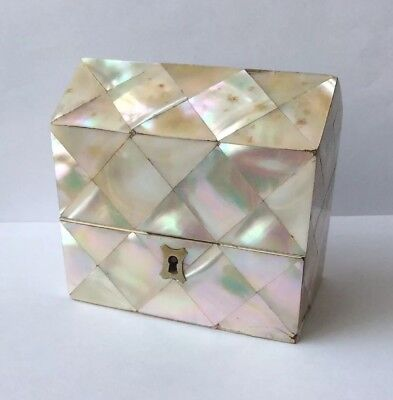Antique Circa 1920 Mother Of Pearl Boxed Glass Scent Bottle Set.