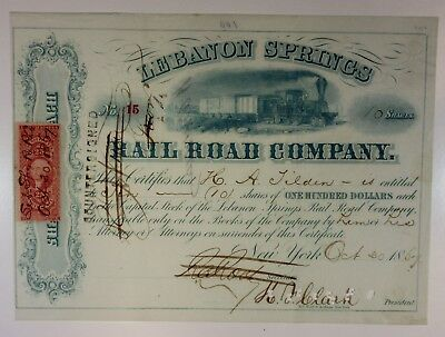 Lebanon Springs Rail Road Co., 1867 10 Shrs I/C Stock Certificate, #15, VF