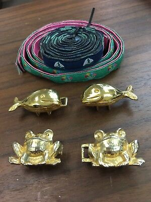 Vintage Whale and Frog Preppy Gold Belt Clasps w/ Balloon & Sailboat Belts EUC!!