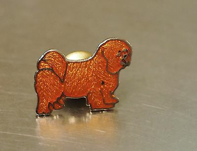 Cloisonne enamel Tibetan terrier spaniel dog Pin  vintage Old New Stock Jewelry*