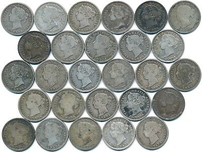 27 Old Silver Victoria Ten Cent's Canada 1858-1901