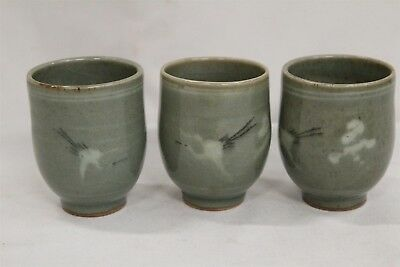 3 Old Korean Green Celadon Cranes Storks Clouds Pottery Teacups Signed