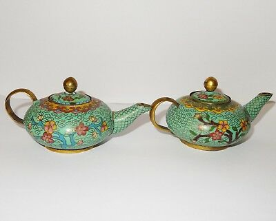 Chinese Cloisonne Teapots 11 cm long 5 cm tall Small  Pair