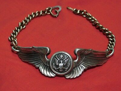A+ WWII US Air Corps Sterling Bracelet Pilot Crewman Wings Pin Trench Art 12k GF