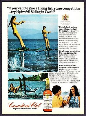 1974 Hydrofoil Skiing in Corfu 2 photo Canadian Club Whisky vintage print ad