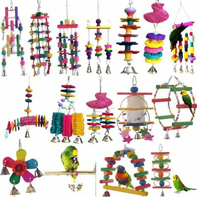 Parrot Pet Bird Chew Cages Hang Toys Wood Large Rope Cave Ladder Bells Gift TU