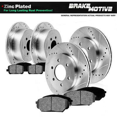 2X Rear Discs Brake Rotors and 4X Pads For 2004-2007 Buick Rainier Drill Slot