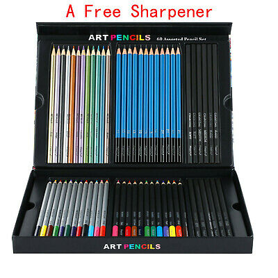 60 Colored Pencils Art Set For Drawing Sketching Painting Box & Free Sharpener