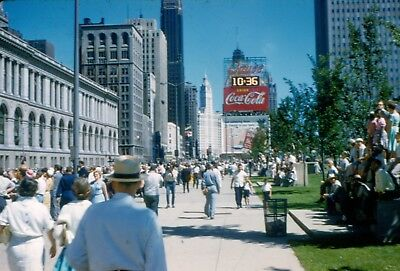 Lot of 11 vintage 35mm slides 1959 Chicago Il skyline zoo coca cola sign water