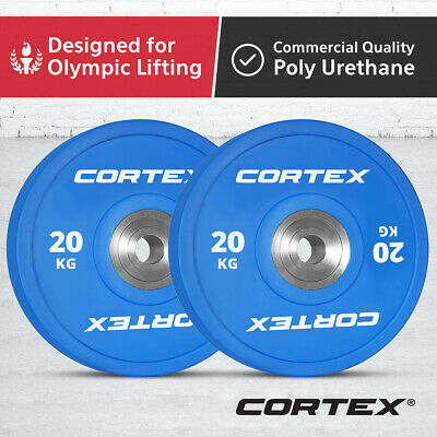 CORTEX 20KG Competition Grade Commercial Gym Olympic Coloured Bumper Plates Pair