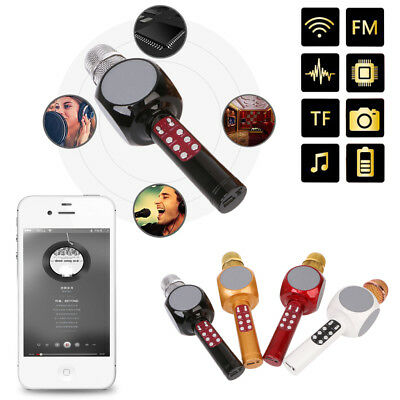 Wireless Bluetooth LED Karaoke Microphone Music Audio Phone Speaker For Home KTV