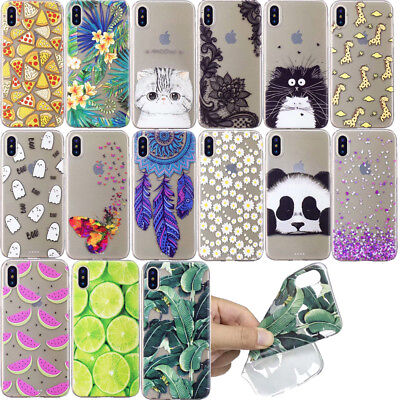 Ultra Thin Cute Patterned Clear Back Soft Silicone Case Cover For iPhone X 7 6s