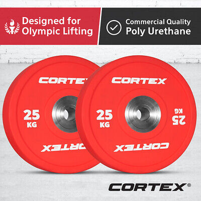 CORTEX 25KG Competition Grade Commercial Gym Olympic Coloured Bumper Plates Pair