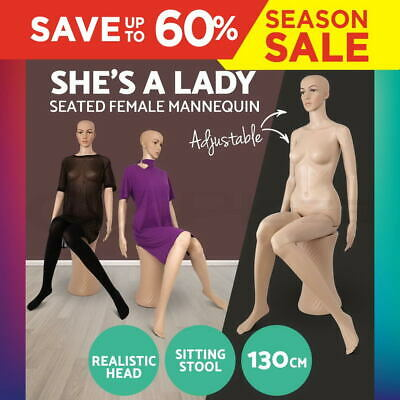 Full Body 130cm Female Sitting Mannequin Torso Clothes Display Showcase Model