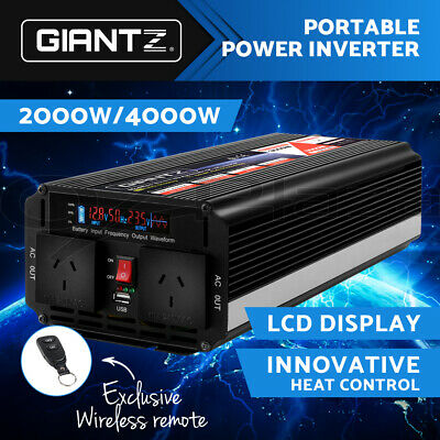 Giantz 2000W/4000W Modified Sine Wave Power Inverter 12V-240V Camping Caravan