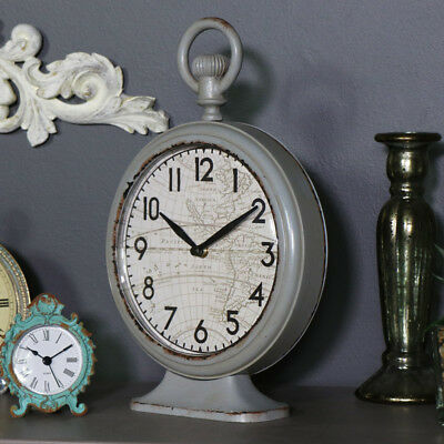 Vintage grey fob style mantel clock desk shelf display aged Father's day gift