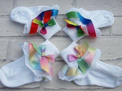 Baby Girls Socks White Organza Frilly Socks Pastel Rainbow Satin Socks Hair Bow