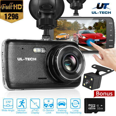 "UL-TECH Dash Cam Dual Camera Car Recorder DVR 170° 1296P HD 32GB 4"" Touch Screen"