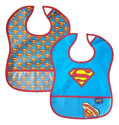 Baby Boys Dribble Bib Plastic Bibs Waterproof Wipe Clean 2 Pack Crumb SUPERMAN