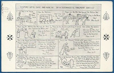"""Postcard - Suffragette Pavement Artist """"History Up to Date and More So"""" c 1908"""