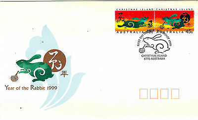 1999 Christmas Island Year Of The Rabbit (Gummed Pair) FDC
