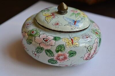 Vintage Chinese Jar with Lid Enamel on Copper Hand-painted Butterfly & Flowers