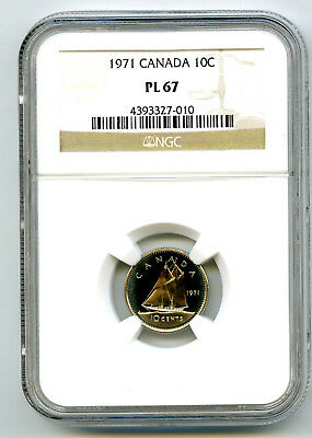 1971 Canada Dime 10 Cent Ngc Pl67 Proof Like Rare High Grade Certified Pop=4