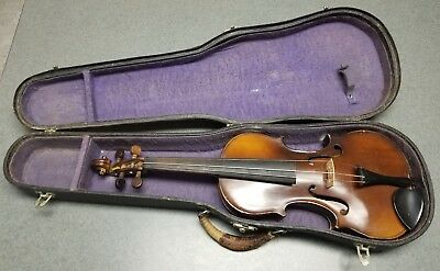 Antique 1900's Violin Child's Size 3/4 Unmarked with Hard Shell Case NICE NR