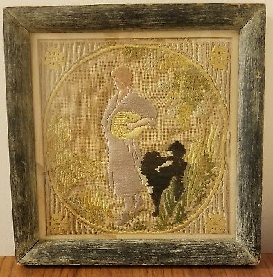 Antique Mid-1800's Silk Work Embroidery Crewel Sampler Woman With Dog Framed NR
