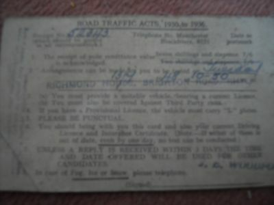 receipt for driving test dated 1948