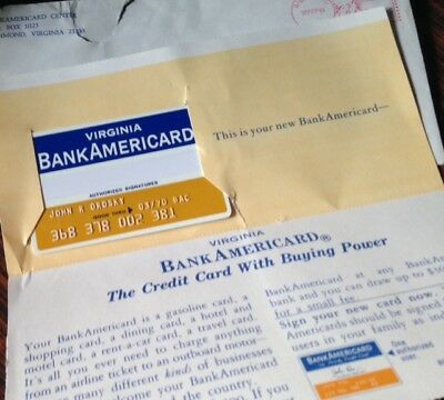 1969 BANKAMERICARD CREDIT CARD ~ WITH ENVELOPE & INSERT ~ Scarce: