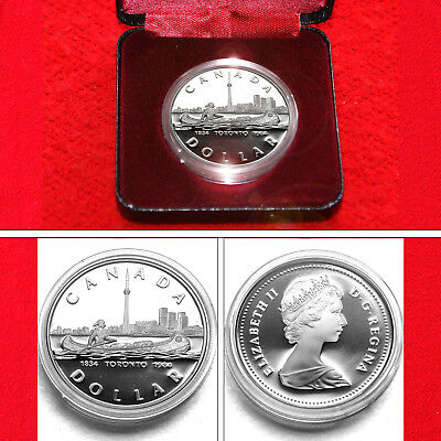 1984 Toronto Sesquicentennial Proof Silver Dollar Coin Silver Issue + Box