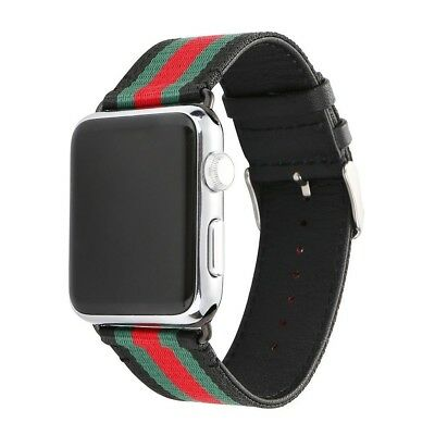 42mm Gucci Pattern Apple Watch Band Strap Replacement Wrist Leather Strap Brace