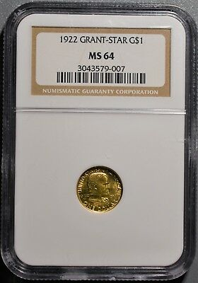 1922 $1 Classic Gold Commemorative Coin, Grant, With Star, Ngc Ms64,  Gb147