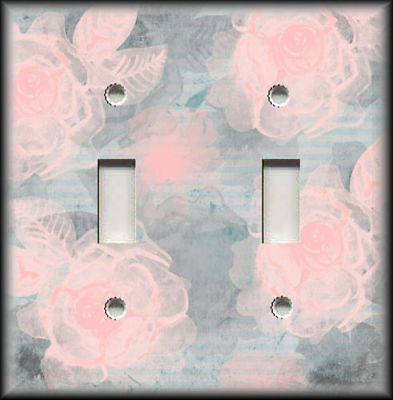 Metal Light Switch Plate Cover Pink Grey Blue Vintage Shabby Chic Floral Decor