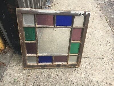 """Gorgeous antique c1880 Queen Anne STAIN glass Window frame snowflake glass 24"""""""
