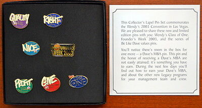 """2003 WENDY'S Fast Food Convention """"Be Like Dave"""" PIN SET - MINT in Box MIB"""