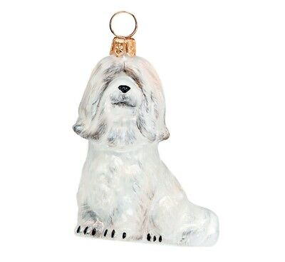 White Havanese Dog Polish Blown Glass Christmas Ornament