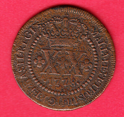 1778 Brazil 20 Reis ~ Very-Good Condition (corrosion)