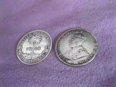 2No. 1918 GEORGE V BRITISH WEST AFRICA SILVER SHILLINGS; Approx 11g in total
