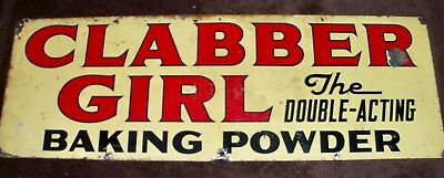 Vintage 1920's? Clabber Girl  Baking Powder Double Sided Tin Sign