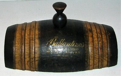 Antique Treenware Wood Advertising Paperweight Ballantines Scotch Whiskey